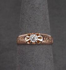14K Rose Gold .25ct Old European Cut Diamond Belcher Ring