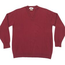 VTG Alan Paine Men's 100% Cashmere V-Neck Sweater Red • England • Size 44