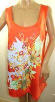 New York & Co Women Size S M L XL 100% Cotton Orange Floral Top Cami Tank Blouse