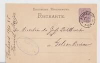 """DR - Ganzsache an die Zeche """"DAHLBUSCH"""" - Gelsenkirchen aus RUHRORT - 1885 !!!"""
