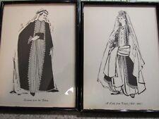 "BEIRUT, LEBANON! - Vintage, Set of 2, 6"" x 8"", Line Drawings, Framed, Pre-Owned"