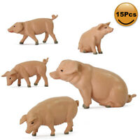 15pcs G Scale Model Pig Animals 1:22.5-1:25 Painted Pigs PVC Railway Diorama