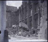 LIBAN Baalbek Temple Ruines Archéologie, NEGATIF Photo Stereo Plaque Verre