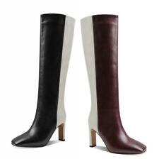 Europe Women Square Toe Stilettos High Heel Knee High Riding Boots Cowboy Club L
