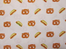 Hot Dogs Pretzels Hot Dog Pretzel Snacks Food White Cotton Fabric BTHY