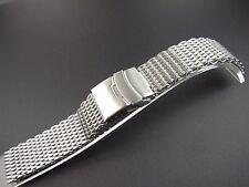 22mm Watch Bracelet Stainless Steel Silver Flex Retro Flatten Shark mesh