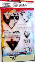 Love Rocks Hearts Dina Wakley Media Clear Acrylic Stamp & Stencil Set MDZ49531