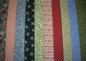 """10 JELLY ROLL STRIPS MULTI COLOUR  44"""" X 2.5""""  100% COTTON PATCHWORK/QUILT MAY"""