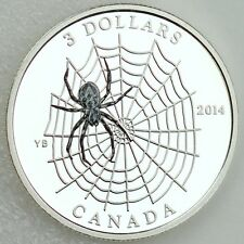 Canada 2014 $3 Spider and Web, ¼ oz Silver Color Proof, Animal Architects #2