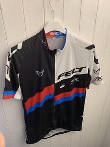 Felt Black And White Short Sleeve Cycling Jersey Size Large
