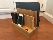 (NEW) Bamboo Charging Station Multi Device Organizer - Iphone, Laptop, Tablet