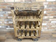 Industrial Reclaimed Wood Wine Trolley  / Rack - Man Cave - Home Bar - Kitchen