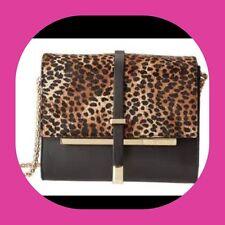 "Vince Camuto ""Leila"" Leather Leopard Haircalf Shoulder Bag Purse Handbag Chain"