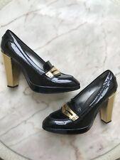 NWOB Hogan Black Gold Loafer Heels Sz 10
