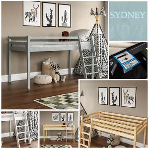 Kids Bunk Bed Mid Sleeper Wooden Cabin Bed With Ladder Memory Foam Mattress