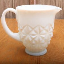 Vintage White Milk Glass Cream Diamond Pattern Pitcher