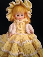 "VINTAGE HARD PLASTIC DOLL WITH CROCHETED DRESS  AND PANTIES SLEEPY EYES 16"" H"