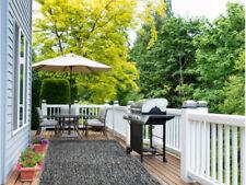 Indoor/Outdoor Grey Black Artificial Grass Turf Area Rug Patio Back yard
