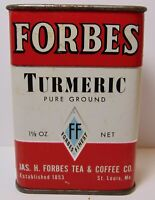 Old Vintage 1940s FORBES GRAPHIC SPICE TIN FORBES TEA COFFEE COMPANY ST. LOUIS