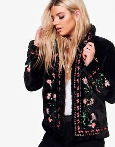 ZARA Navy Blue Embroidered Faux Fur Coat with Embroidery S BNWT REF: 5070 242