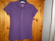 Mulberry purple cap sleeve hip length polo shirt top, H&M, size Medium, UK 12
