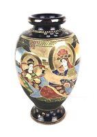 Fine Vintage Japanese Satsuma Pottery Dark Blue Gold Women & Man Vase Marked