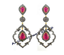 Silver 925 Ruby Victorian Look Earrings Latest 3.14ct Antique Rose Cut Diamond &