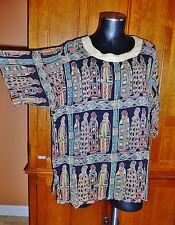 Vtg MOLATO Ethnic African Print gauze rayon dress Shirt BLOUSE TOP Tunic sz L