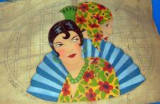 ancien dessus de coussin toile de lin Art déco *espagnole  *jamais Fini 50x70cm