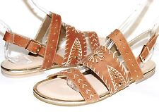 ✿ VERY VOLATILE Summa Golden Studded Stitched Tan Leather Sandals 7 M NEW! L@@K!