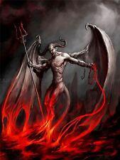 Pintura Diablo Demonio Fuego Cadena Trident alas, cuernos Monster Cartel bmp10326