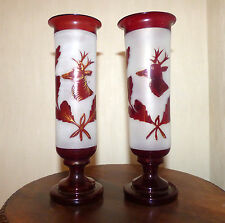 Antique Victorian Gold Ruby Deer to Frosted Glass Hurricane Vases Pair