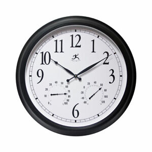 Infinity Instruments 15664BK-2534 24 Inch Classic Black Wall Thermometer Clock