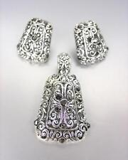 klassisch Designer Silber filigran Markasit CZ Anhänger Ohrringe Satz