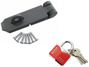 HEAVY DUTY SECURITY SET HASP AND STAPLE - 40MM STAINLESS STEEL  PADLOCK 3 KEYS