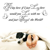 """Vinyl Wall LARGE """"IF I LAY HERE-SNOW PATROL-CHASING CARS""""ART QUOTE STICKER HOME"""