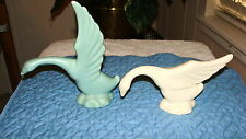 POTTERY GEESE, 1 BLUE AND 1 WHITE ART POTTERY