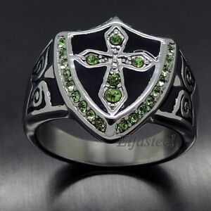 Exclusive Men's Green Cubic Zirconia Cross Shield 316L Stainless Steel Ring