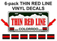 6x THIN RED LINE License Plate Decals   Stickers Firefighter Fire Rescue EMT