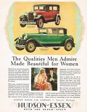 1928 BIG Original Vintage Hudson Victoria & Essex Sedan Car Art Print Ad