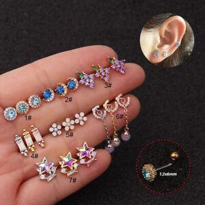 New Moon Zircon Earring Piercing Screw Steel Earring Tragus Piercing Jewelry#