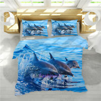 Dolphin Quilt/Doona/Duvet Cover Set Single/Double/Queen/King Size Bed Linen