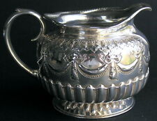 Antique English Sheffield Sterling Silver Repousse Pitcher Jug Bows & Swags 1884