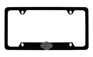 Harley-Davidson Flat Matte Black License Plate Frame Holder With 3D Bar & Shield