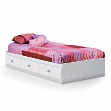South S Crystal Mates Twin Platform Bed White