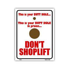 "Novelty Sign - Funny No Shoplifting Sign, Anti Shop Lift - 12"" x 9"" Metal"