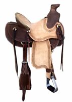 "Western Brown Leather Hand Carved Strip  Roper Ranch Saddle :10"",12"",13"",14"""