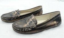 MICHAEL MICHAEL KORS Womens Penny Leather Loafers Sz 7.5 Mocs Metallic Flats