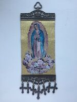 Icon of Our Lady of Guadalupe Woven Tapestry Wall Hanging With Crosses Crucifix