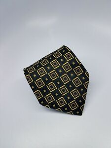 Jos A Bank Silk Tie Black Gold Geometric Squares Made in Italy